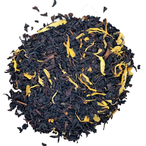 organic peach apricot with Black tea, calendula, osmanthus petals