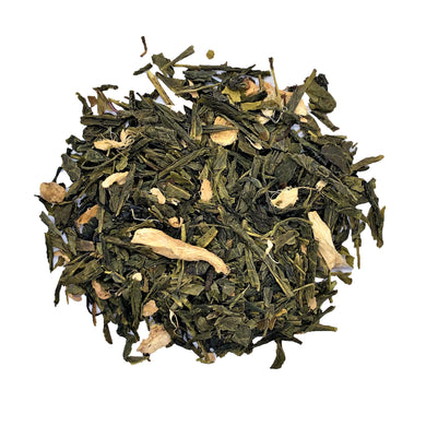 peppermint ginger green tea with Luxury green tea, dried ginger, dried calendula, sunflower petals