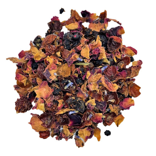 organic roman Rooibos with rose petals, lavender blossoms, currants, elderberries