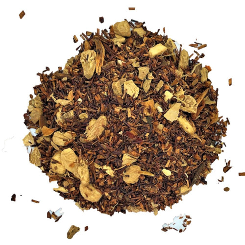 spiced Rooibos herbal tea with cinnamon, ginger and orange flower petals