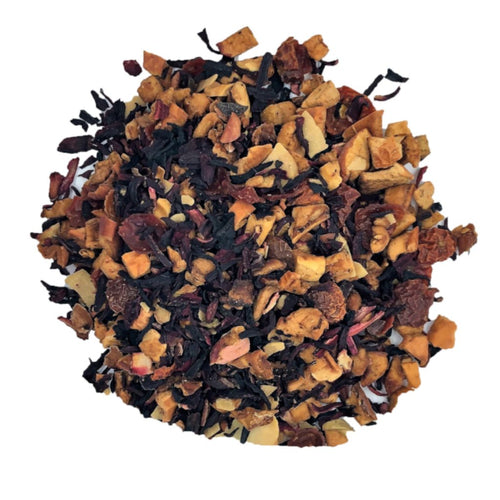 toasted almond herbal tea blend with Apple, hibiscus, rose hip, almond, cocoa nibs