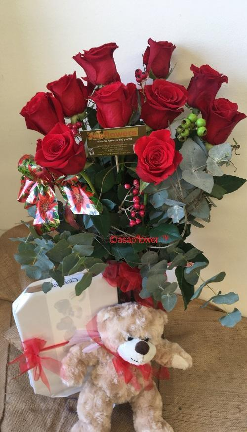 The Love Pack - Package of Roses, Truffles & Teddy