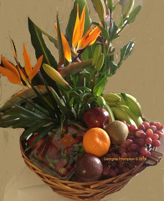 ISLAND LIFE - Basket of fruit and flowers