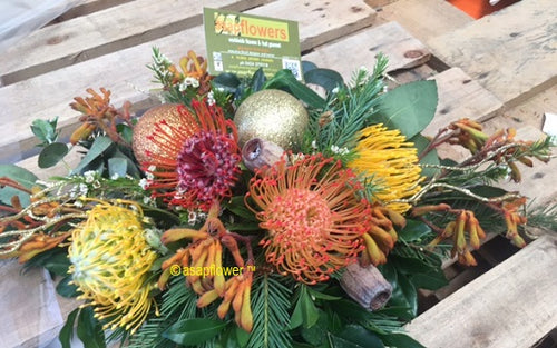 Native snow Table centre delivered by Gold Coast Florist Burleigh