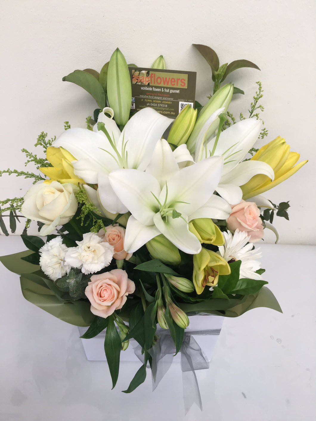 Charity all white funeral boxed arrangement other colour options charity all white boxed design new product funeral flowers gold coast delivery izmirmasajfo