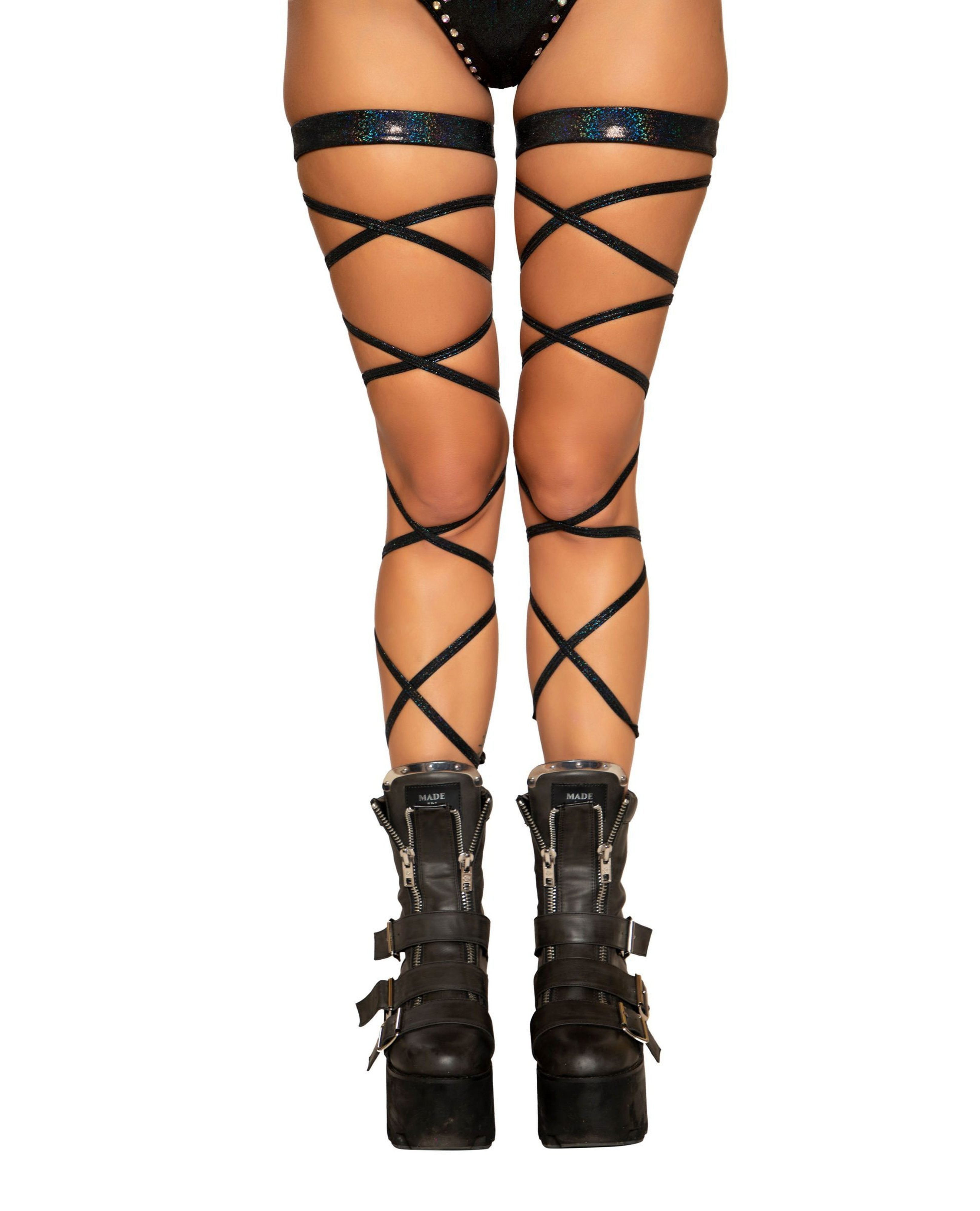 "100"" Shimmer Leg Strap with Attached Garter Accessories Size One SizeColor BlackNakees"