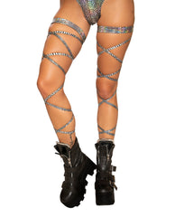 "100"" Snake Skin Leg Strap with Attached Garter-Accessories-Roma Costume-One Size-Silver-Nakees"