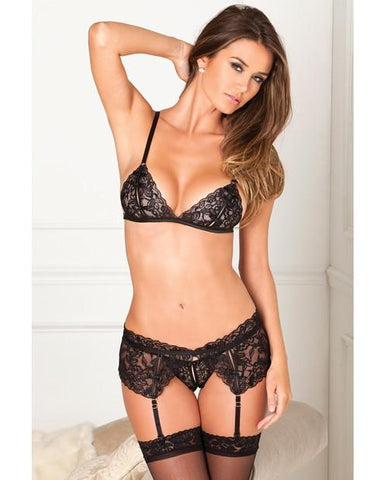 3 Piece Garter Set-lingerie-Rene Rofe-small/medium-black-Nakees