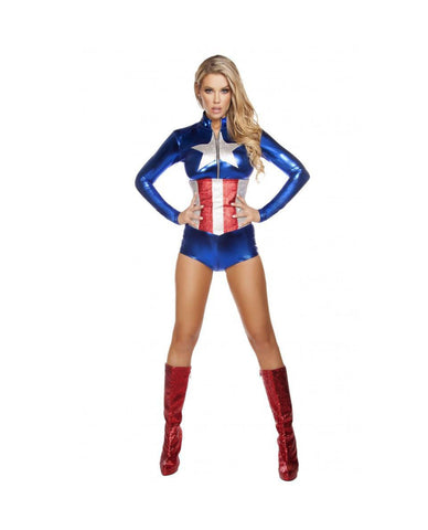 Enhanced American Hero costumes Size SmallColor Blue/Silver/RedNakees