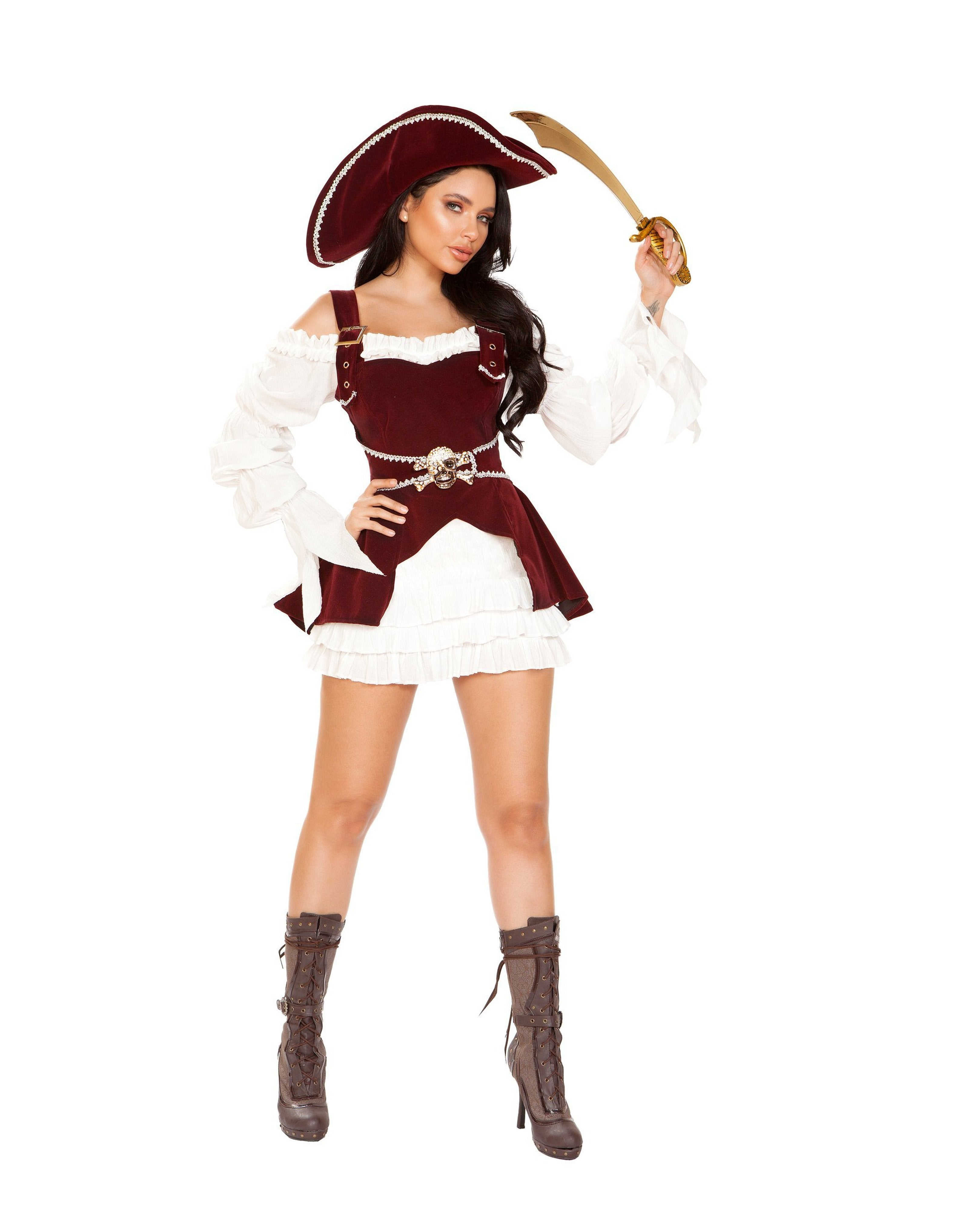 Armed Pirate Sexy Costume costumes Size SmallColor White/BurgundyNakees