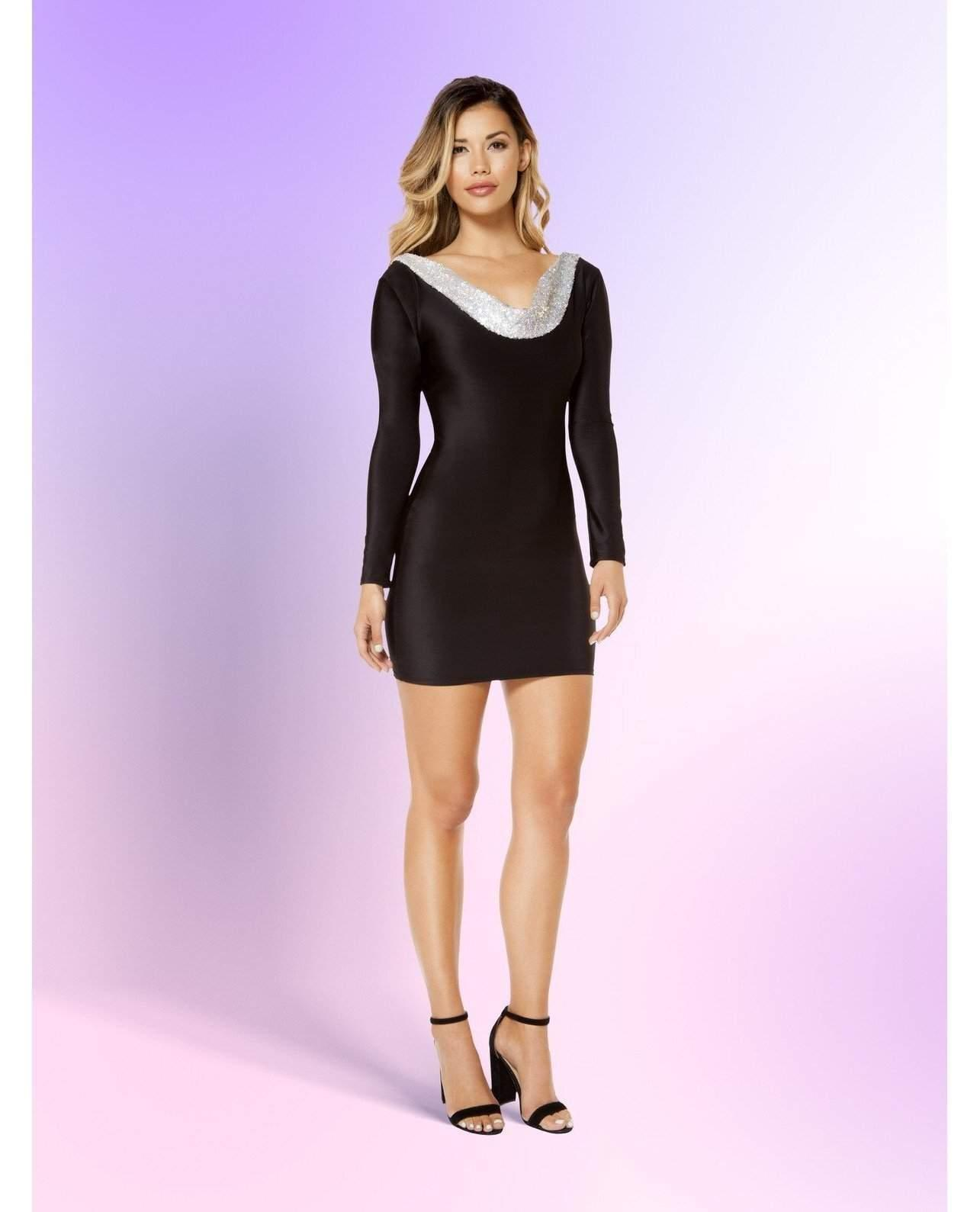 Black and Metallic Long Sleeve Mini Dress club wear Size SmallColor Black/GoldNakees