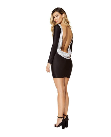 Black and Metallic Long Sleeve Mini Dress-club wear-Roma Costume-Nakees