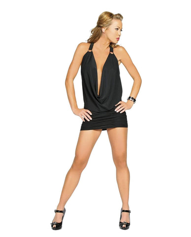 Black Mini Club Dress with O-Ring Back club wear Color Black Size S/M Nakees