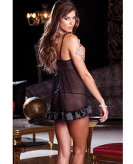 Bowtie Babydoll and G-String lingerie size small/medium color black Nakees