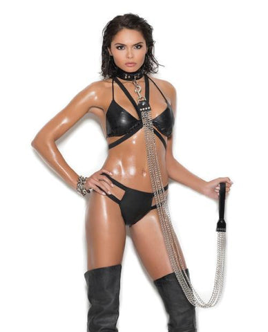 Chain Bra with Leather Trim and Matching Thong lingerie size queen sizecolor blackNakees