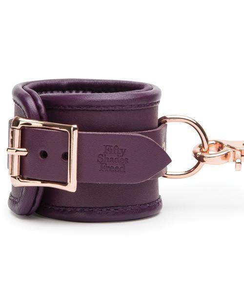 Cherished Collection Leather Wrist Cuffs sex toys material leather color purple Nakees