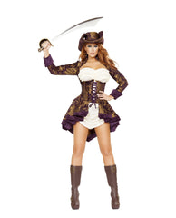 Classy Pirate-costumes-Roma Costume-Large-Brown/Purple/White-Nakees