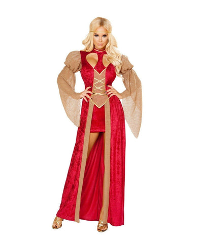 Classy Renaissance Woman Cutie-Costumes-Roma Costume-Small-Red/Beige/Gold-Nakees