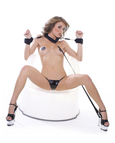 Collar with Cuffs and Leash-sex toys-Pipedream-black-Nakees