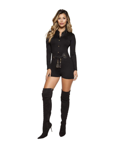 Collared Romper with Button Up Front-Rompers-Roma Costume-Nakees