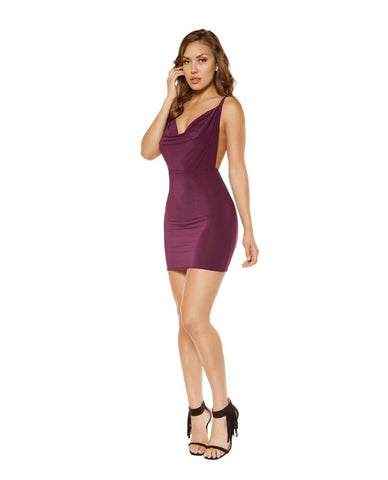Cowl Neck Mini Dress with Low Back Detail-club wear-Roma Costume-Nakees