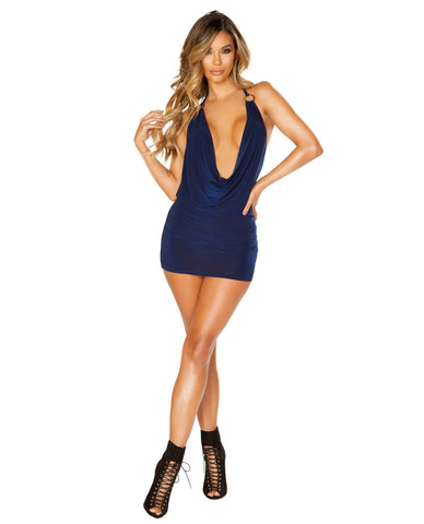 Cowl Neck Mini Dress with O Ring-club wear-Roma Costume-blue-small/medium-Nakees