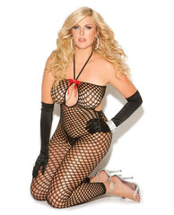 Crochet Bodystocking women size one size color black Nakees