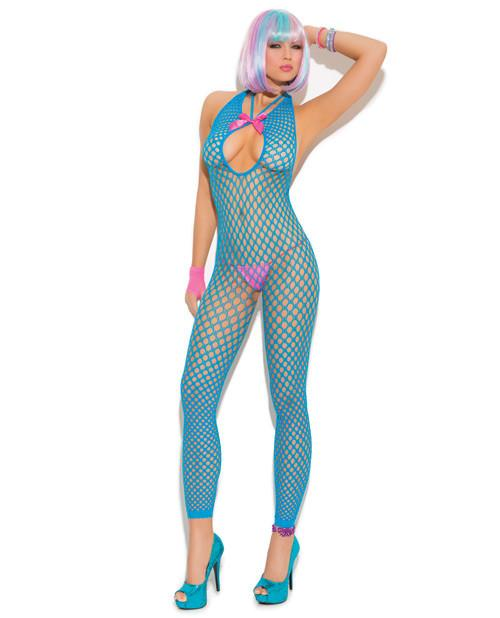 Crochet Footless Bodystocking women size one size color blue Nakees