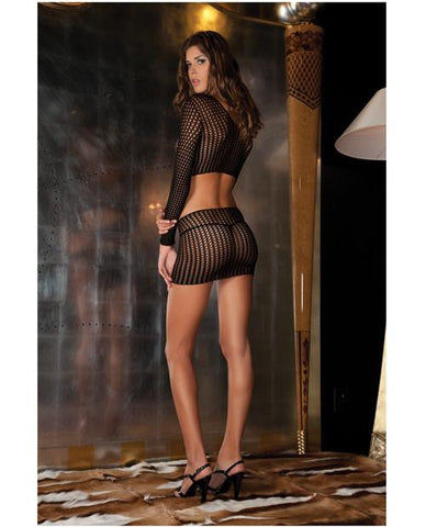 Crotchet Net Bodystocking-lingerie-Rene Rofe-black-one size-Nakees