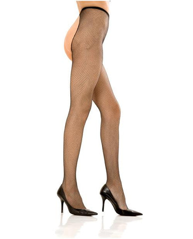 Crotchless Fishnet Pantyhose lingerie color black size one size Nakees
