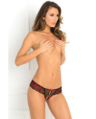 Crotchless Lace Thong with Bows lingerie color red Size small/medium Nakees