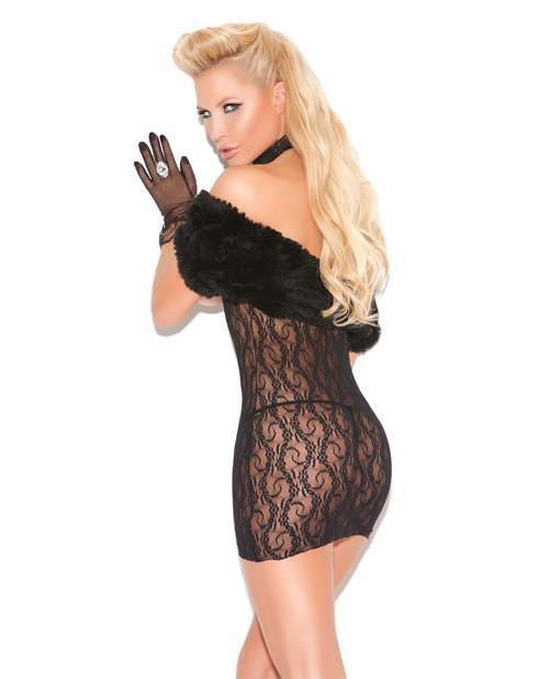 Cupless Lace Dress-club wear-Elegant Moments-one size-black-Nakees
