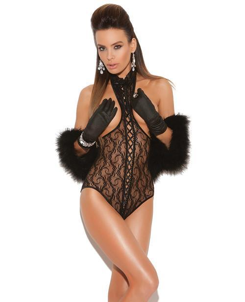 Cupless Teddy with Lace Up Front and Open Back-women-Elegant Moments-one size-black-Nakees
