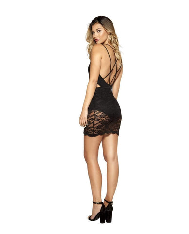Cutout Dress with Cutaway Detail Lace Overlay-club wear-Roma Costume-Nakees