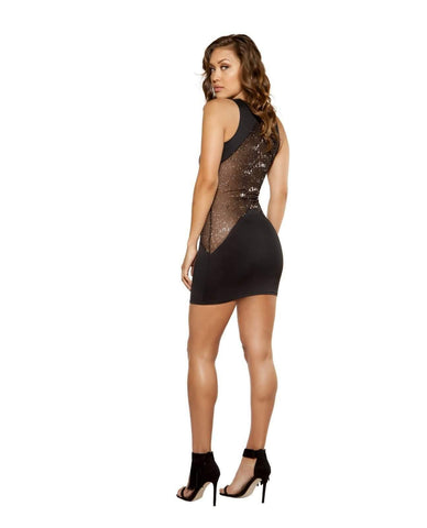 Cutout Dress with Glitter Sheer Mesh-club wear-Roma Costume-Nakees