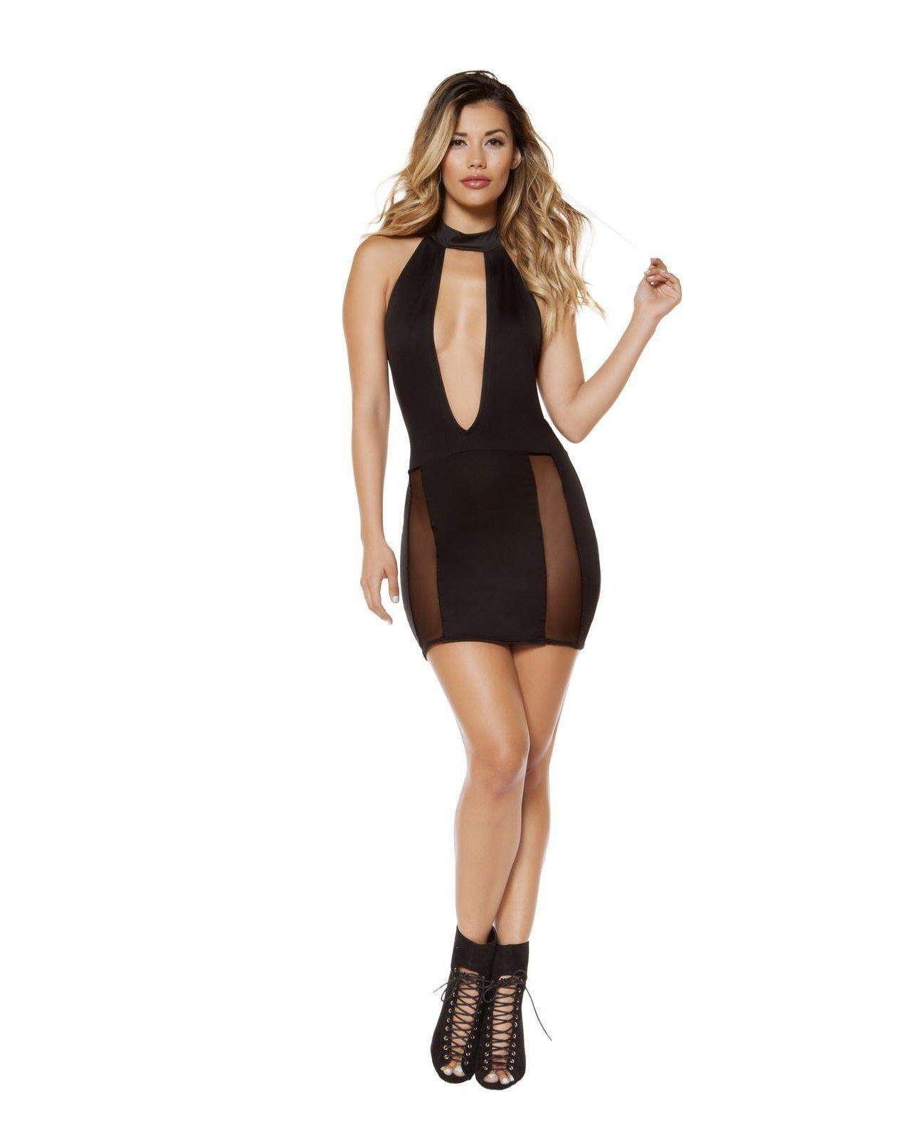 Cutout Dress with Sheer Mesh Slit club wear Size smallcolor blackNakees