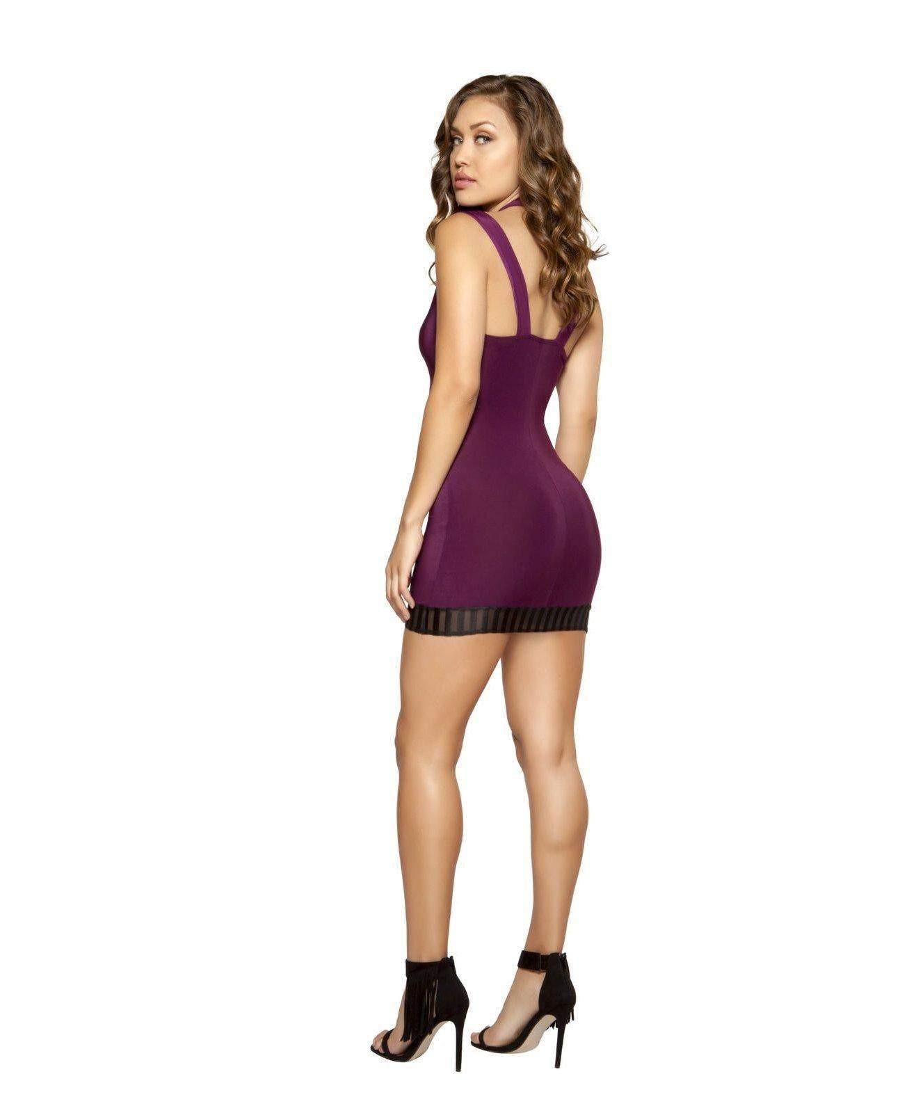 Cutout Dress with Striped Mesh Detail-club wear-Roma Costume-Nakees