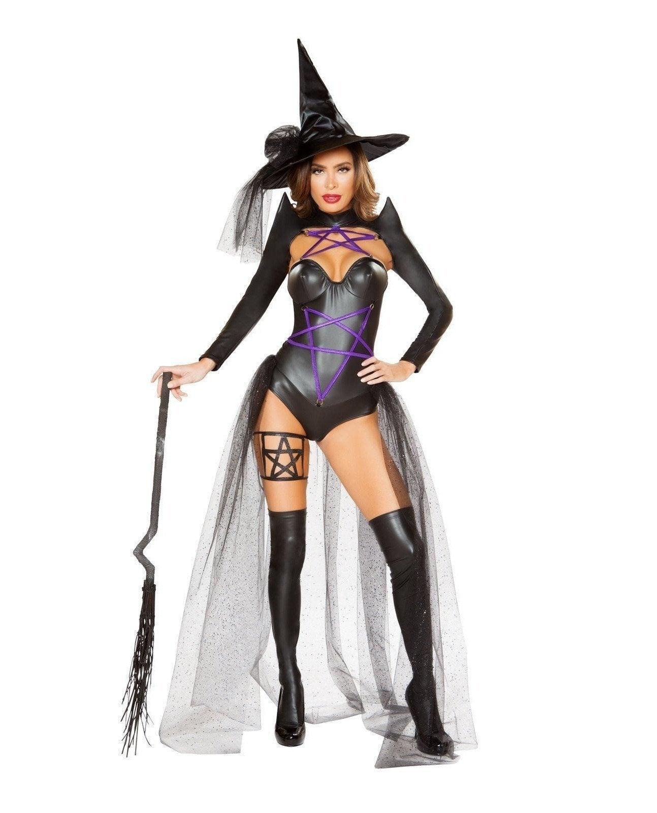 Dark Witch Costume-Costumes-Roma Costume-Small-Black/Purple-Nakees