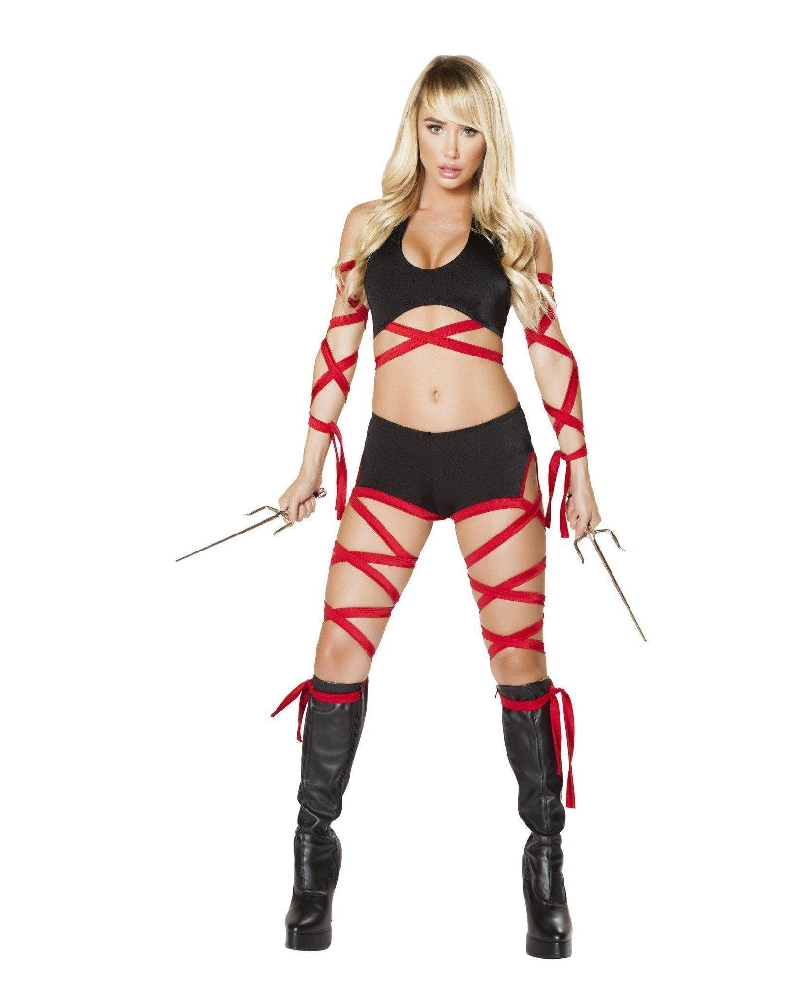 Deadly Ninja Assassin-Costumes-Roma Costume-Large-Black/Red-Nakees