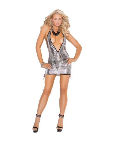 Deep V Halter Metallic Mini Dress club wear size small color silver/black Nakees