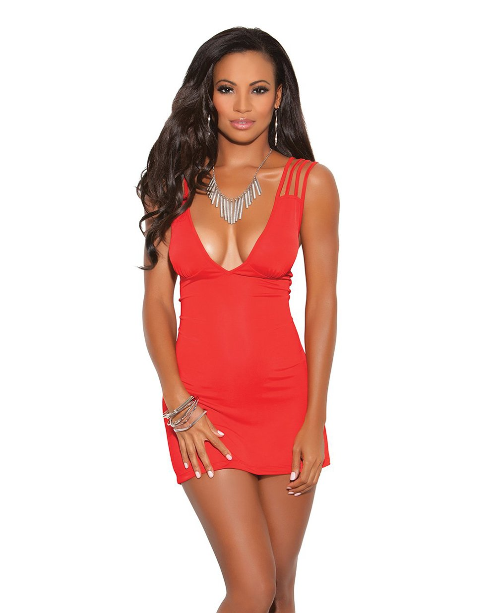 Deep V Mini Dress with Criss Cross Straps club wear size smallcolor redNakees