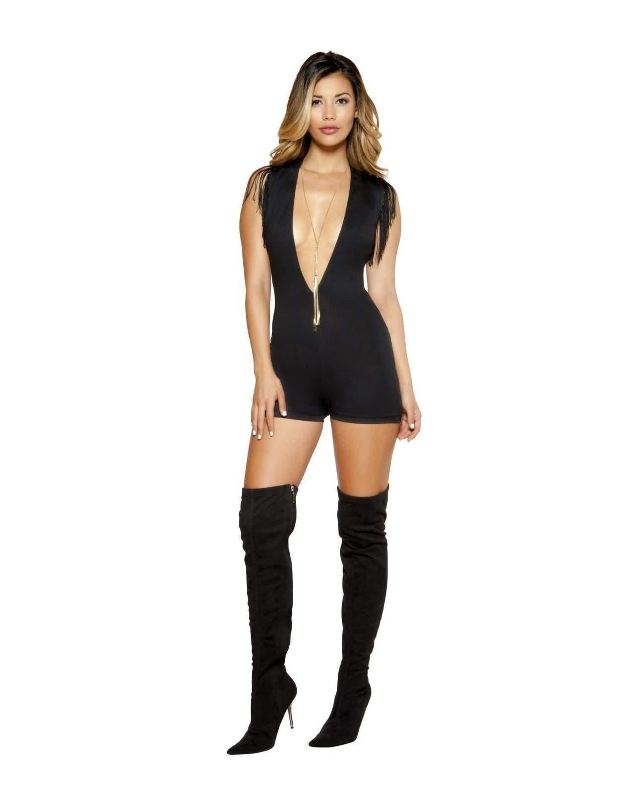 Deep V Romper with Fringe Rompers Size SmallColor BlackNakees