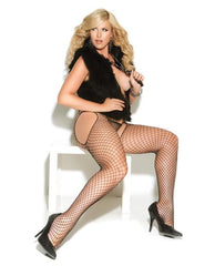 Diamond Net Suspender Pantyhose lingerie size queen color black Nakees