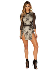Double Layer Double Slit Dress with Three Quarter Length Sleeves-club wear-Roma Costume-nude-small-Nakees