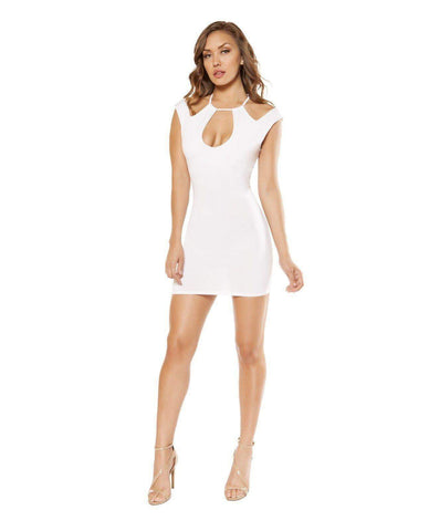 Dress with Cutout Panels-club wear-Roma Costume-small-white-Nakees