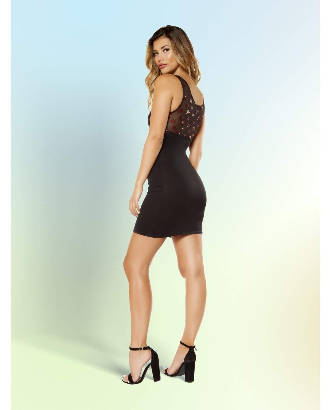 Dress with Star Shaped Glitter Mesh club wear Size SmallColor BlackNakees