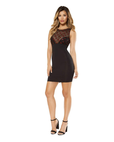 Dress with Star Shaped Glitter Mesh-club wear-Roma Costume-Nakees