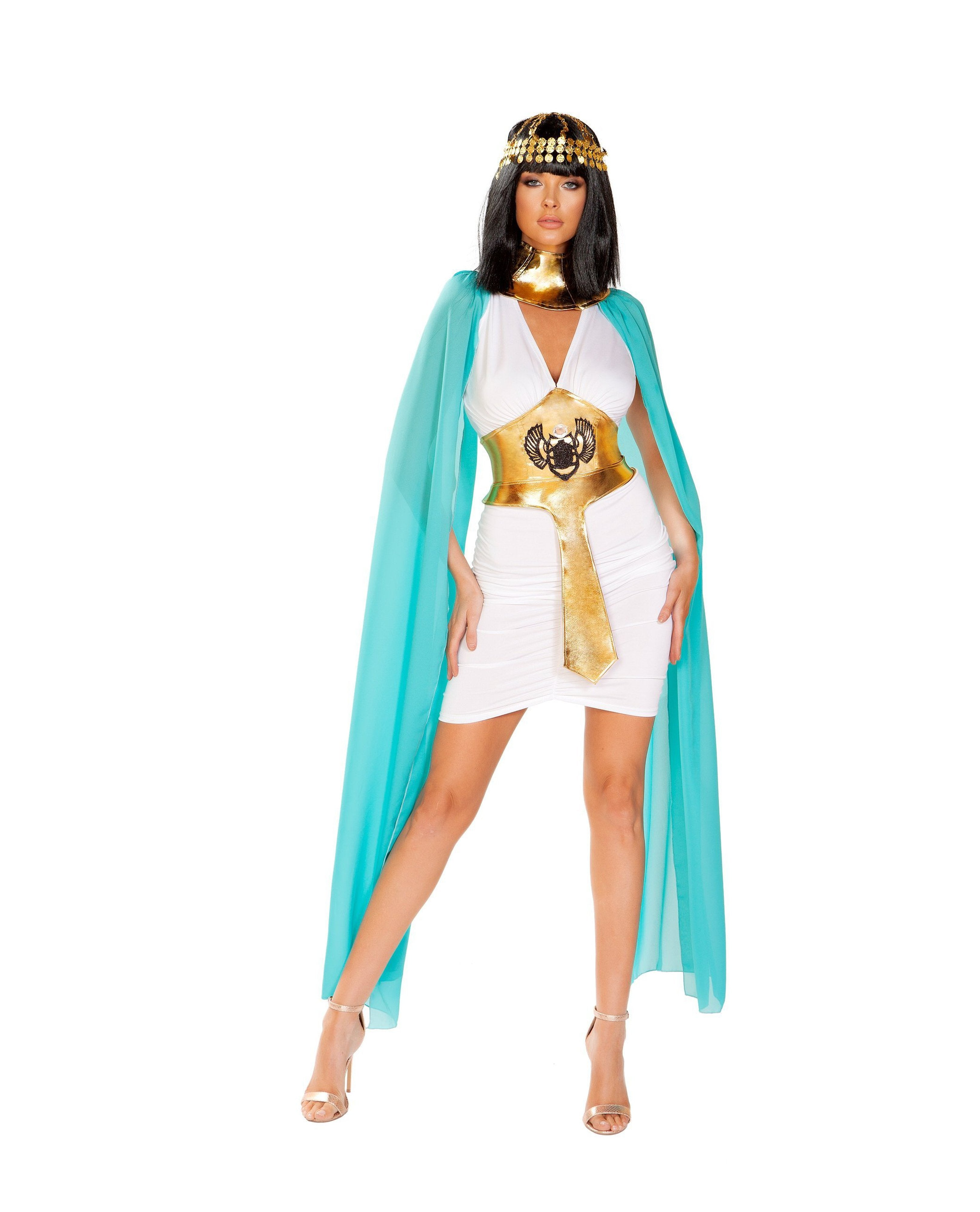 Egyptian Warrior Queen Costume costumes Size SmallColor White/Blue/GoldNakees