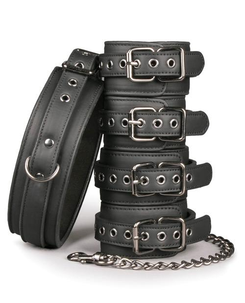 Faux Leather Fetish Set with Collar, Ankle & Wrist Cuffs sex toys color blackNakees