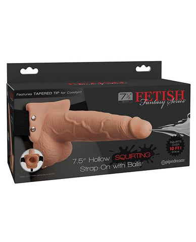 "Fetish Fantasy Series 7.5"" Hollow Squirting Strap-On w/Balls-dildo-Fetish Fantasy Series-vanilla-Nakees"